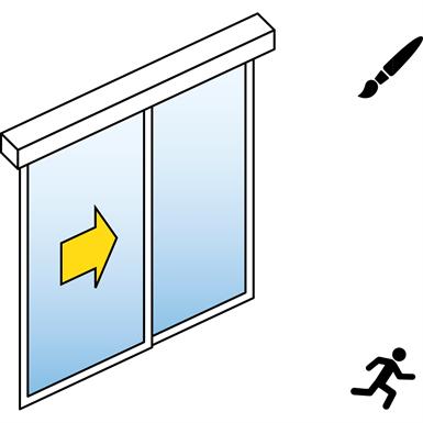 automatische schiebetür (standard) - 1-flüglig - mit seitenteil - sturzmontage - sl/psxp