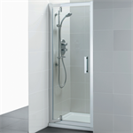 synergy 900mm pivot shower door, idealclean clear glass, bright silver finish