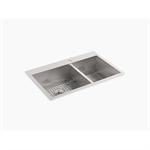 "vault™ 33"" x 22"" x 9-5/16"" top-/under-mount large/medium double-bowl kitchen sink with single faucet hole"