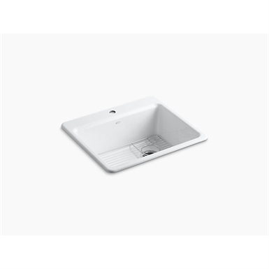 """riverby® 25"""" x 22"""" x 9-5/8"""" top-mount single-bowl kitchen sink with sink rack"""