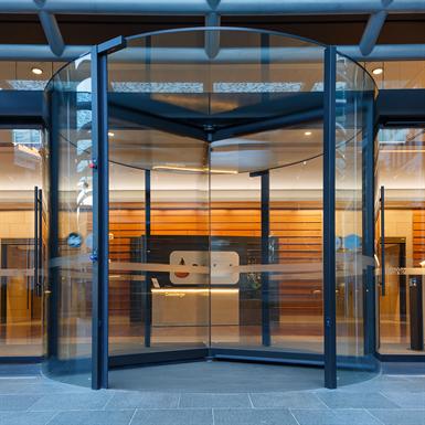 revolving door, atrium plus automatic curtain-panel