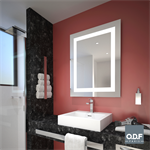 mirror with integrated rectangular led light band and defogger 70 x 90cm