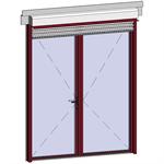 door window opening inside leaf with lock with external venetian blinds
