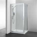 synergy 1200mm slider door, idealclean clear glass, bright silver finish