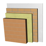 ME05-B1-b Double skin clay block party wall, with thermal insulation and air cavity. BC14+C+AT+LH7+ENL