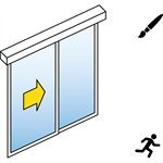 automatische schiebetür (standard) - 1-flüglig - mit seitenteil - wandmontage - sl/psxp