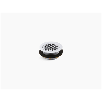 round shower drain for use with plastic pipe, gasket included
