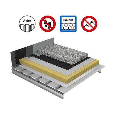 systems for non-accessible insulated roof with heavy protection on plain steel deck - buildings with high hygrometry