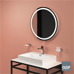 round mirror with integrated led light band and defogger ø80cm