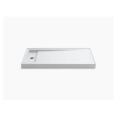 """Bellwether® 60"""" x 32"""" single-threshold shower base with left offset drain"""