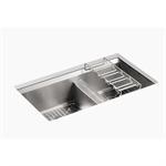 "8 degree™ 33"" x 18"" x 10-3/16"" under-mount large/medium double-bowl kitchen sink"