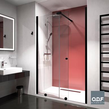 shower screen 1 fixed + 1 sliding panel + stabilizor azur