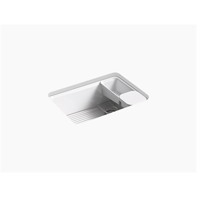"""riverby® 27"""" x 22"""" x 9-5/8"""" under-mount single-bowl kitchen sink with accessories and 5 oversized faucet holes"""