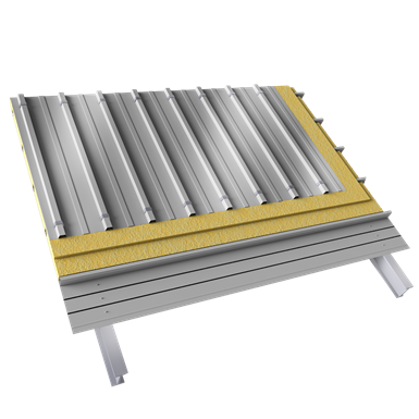 steel double skin roofing crossed with structural trays
