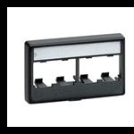 Mini-Com® Furniture Faceplates with Label Covers - 4 Module - White