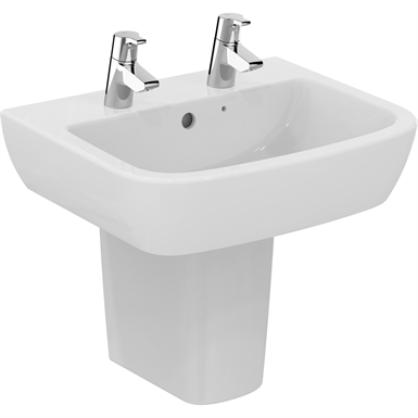 p_tempo 55cm washbasin,  2 tapholes