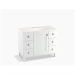 """poplin® 42"""" bathroom vanity cabinet with legs, 1 door and 6 drawers"""