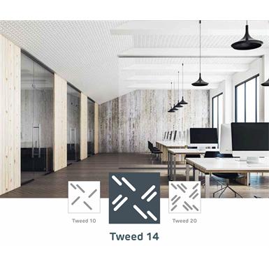 acoustic & esthetic prégymétal ceiling - createx tweed - siniat