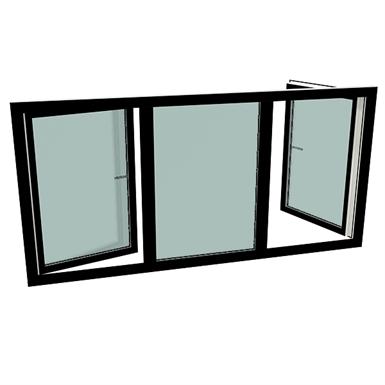 S9000 Dreiteiliges Fenster mit Dreh-Kipp-Fenstern links & rechts
