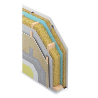 mur extérieur sur ossature bois - non porteur - 233 mm - ei60 -  option bardage ventilé aquaboard - siniat