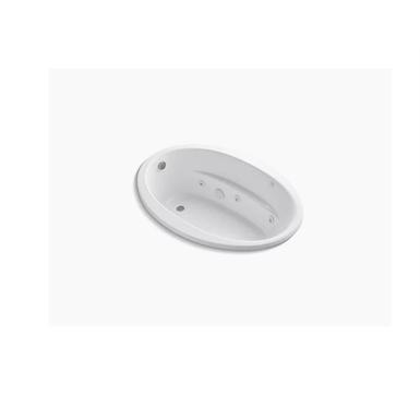"sunward® 60"" x 42"" drop-in whirlpool bath with end drain and custom pump location"