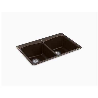 "kennon® 33"" x 22"" x 9-5/8"" neoroc® top-/under-mount double-equal kitchen sink"