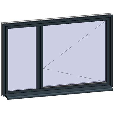 fenêtre à ouvrant caché avec partie fixe adjacente