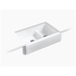 """whitehaven® hayridge® self-trimming® smart divide® 35-11/16"""" x 21-9/16"""" x 9-5/8"""" under-mount large/medium double-bowl kitchen sink with tall apron and hayridge® design"""