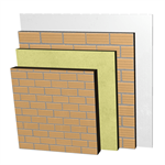 ME05-H-b Double skin clay brick party wall, with thermal insulation and air cavity. LH11,5+C+AT+LH7+ENL