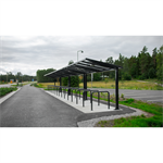 Vivid 1-sided bicycle shelter, 14 m, 28 bicycles
