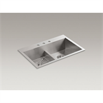 "vault™ 33"" x 22"" x 9-5/16"" smart divide® top-/under-mount double-equal bowl kitchen sink with 3 faucet holes"