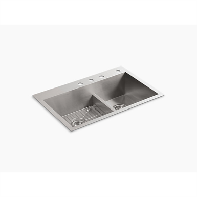 "vault™ 33"" x 22"" x 9-5/16"" smart divide® top-/under-mount large/medium double-bowl kitchen sink with 4 faucet holes"