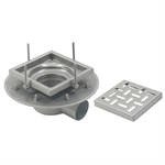 Adjustable Floor Drain with 8in. x 8in. Square Top, Shallow Body, Side Outlet - BFD-120-SO