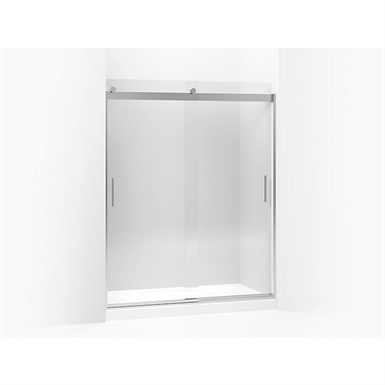 "levity® sliding shower door, 74"" h x 56-5/8 - 59-5/8"" w, with 1/4"" thick crystal clear glass and blade handles"