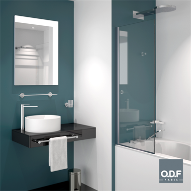 mirror with led light in l shape top/right with defogger 70 x 90cm