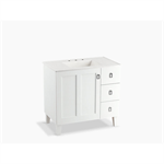 "poplin 36"" bathroom vanity cabinet with legs, 1 door and 3 drawers on right"