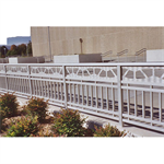 Aluminum Picket Railing, Picket Railing With Top Rail And One Mid-Rail, Plus Bottom Rail With Extended Pickets