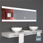 mirror with 2 integrated horizontal led light bands and defogger 198 x 65cm