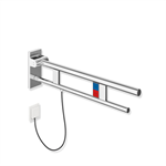 hinged support rail duo, design a  with flushing mechanism/function buttons