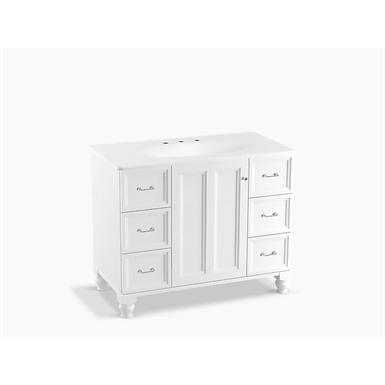 """damask® 42"""" bathroom vanity cabinet with furniture legs, 1 door and 6 drawers"""
