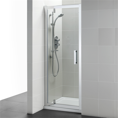 synergy 800mm pivot door, idealclean clear glass, bright silver finish