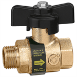 BALLSTOP - Ball valve with built-in check valve with butterfly handle