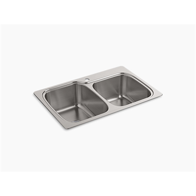 """verse™ 33"""" x 22"""" x 9-1/4"""" top-/under-mount large/medium double-bowl kitchen sink with single faucet hole"""