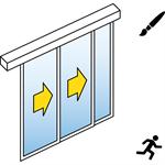 porte coulissante automatique (cadre fin) - 2 vantaux tele - avec parties fixes - montage en applique - sl/psa