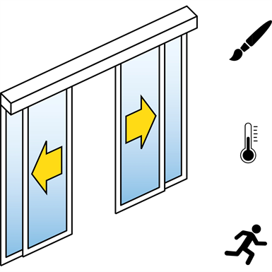 Automatic Sliding Door  (Energy-Efficiency) - Bi-parting - With side panels - On wall - SL/PST