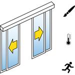 automatische schiebetür (energieeffizienz) - 2-flüglig - mit seitenteil - sturzmontage - sl/pst