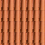 Sloping roof with external cladding of clay tile. T