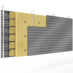 doppelte aussenfassade aus stahl verlegung h perforierte platten abstandhalter mit 2 dämmflächen