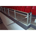 Aluminum Glass Railing, Glass Panel Rail With Top Rail, Midrail And Bottom Rail, 1/4 in. Clear Tempered Glass