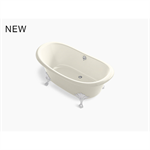 "artifacts® 66"" x 33"" freestanding bath with biscuit exterior"